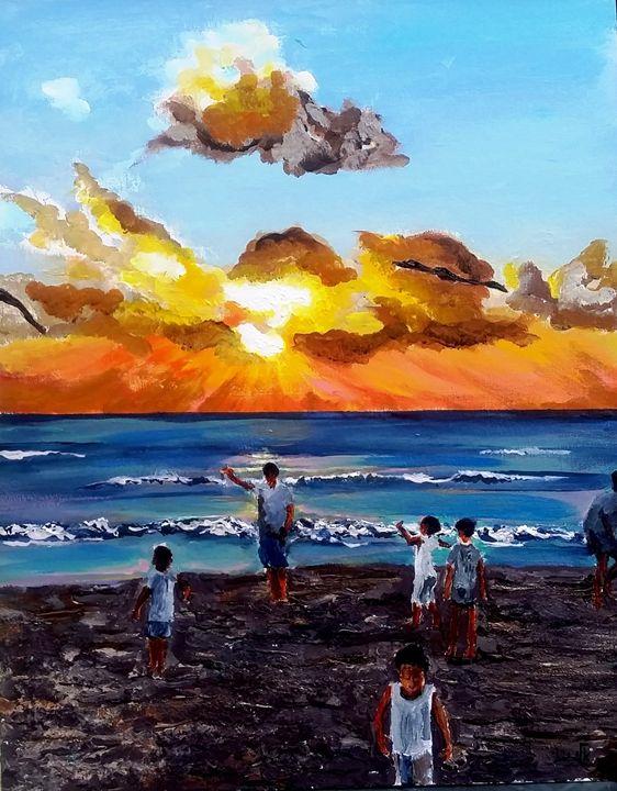 Kites in the sunset - Eli Gross Art
