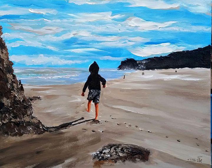 Children have their play on the seas - Eli Gross Art
