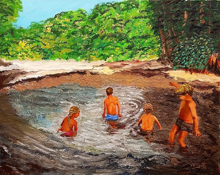 Those children bathing - Eli Gross Art