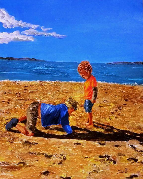 Children gather pebbles - Eli Gross Art