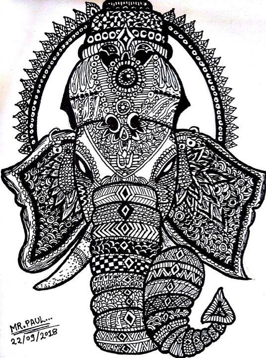 Ganpati Home Decor Doodle Painting - PAUL'S ART GALLERY