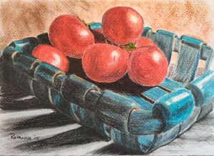 Still life tomatoes in bowl