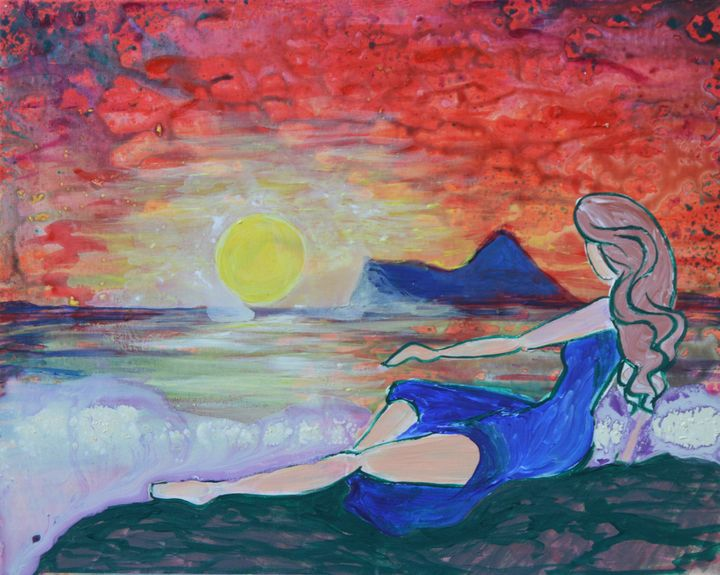 Lady in blue by the sea - Marigrace Zito