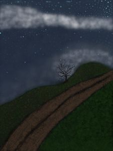 Lonely Tree On A Starry Night