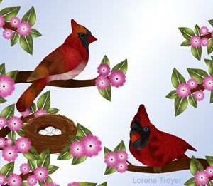 Pair of Cardinals and Nest