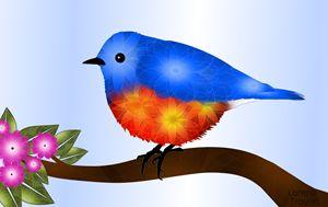 Bluebird and Blossoms - Art by Lorene