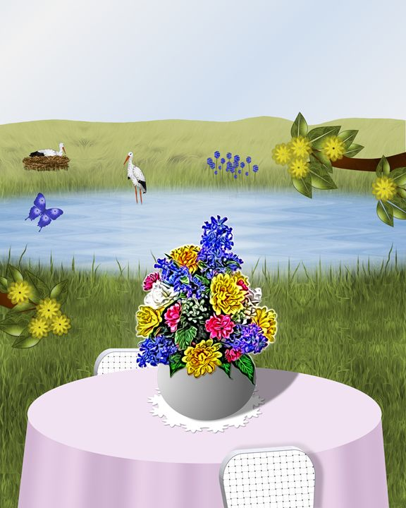 Flower Arrangement Lake Scene - Art by Lorene