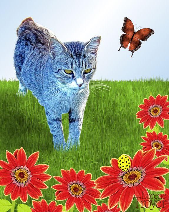 Tabby Cat Watching Bug - Art by Lorene