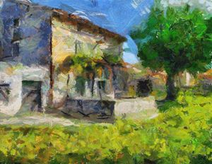Stone House With  Old Mulberry - FORTUNA ART