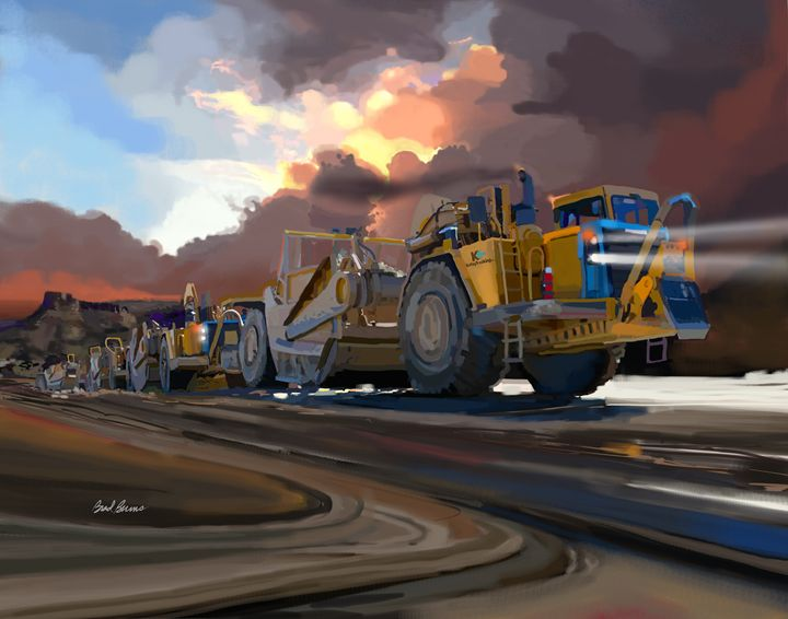 Caterpillar Scrapers - Construction Fine Art