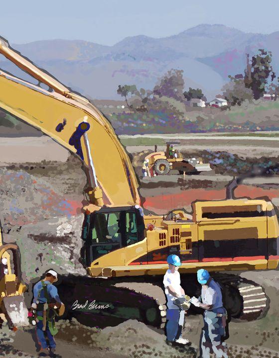 Hollister Road Work - Construction Fine Art