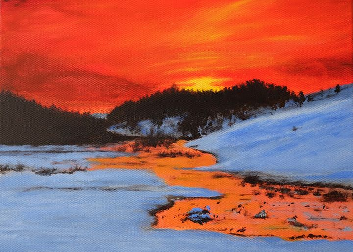 Winter sunset - Elitsa's paintings