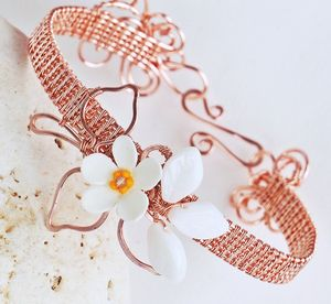 Daisy wire wrapped cuff bracelet