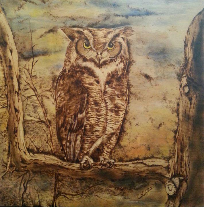 Horned Owl - EC Pyro Art