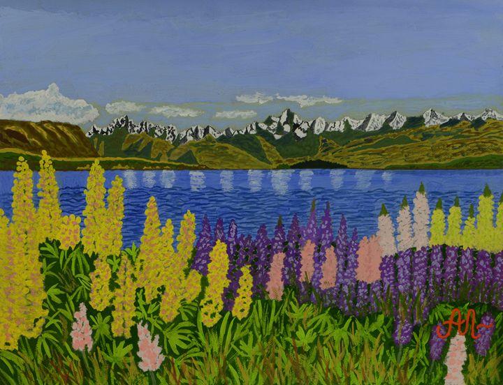 Lupines near Lake Tekapo, NZ - Anton's art from the heart