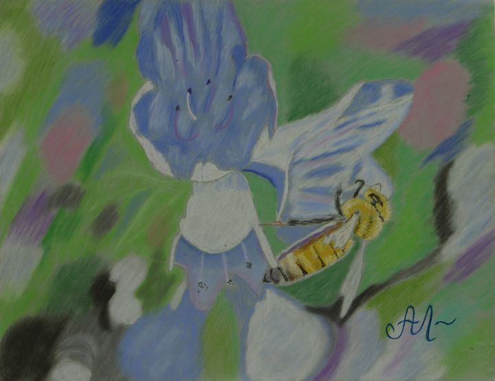 A bee on a blue flower - Anton's art from the heart