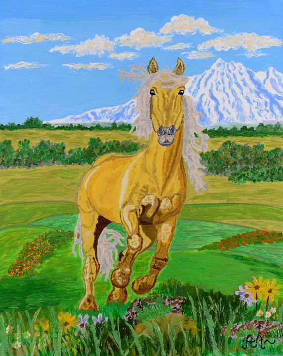 A running yellow horse - Anton's art from the heart