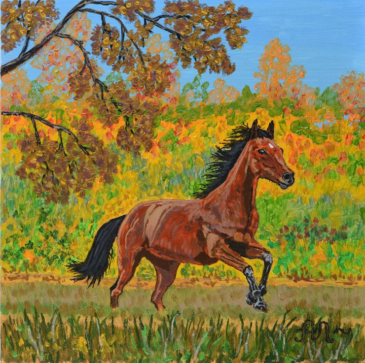 A running brown horse - Anton's art from the heart