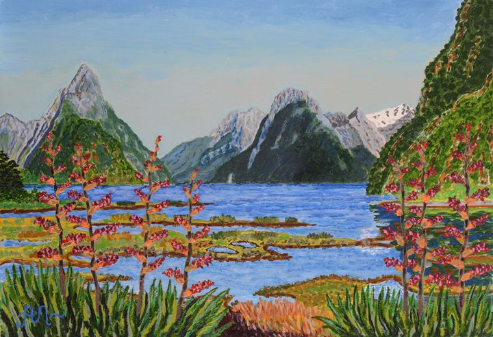 A clear day in Milford Sound, NZ - Anton's art from the heart