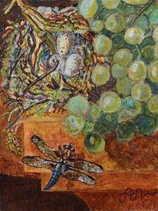 Still-life with grapes and dragonfly