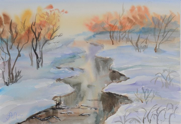 Winter landscape with a stream - Anton's art from the heart