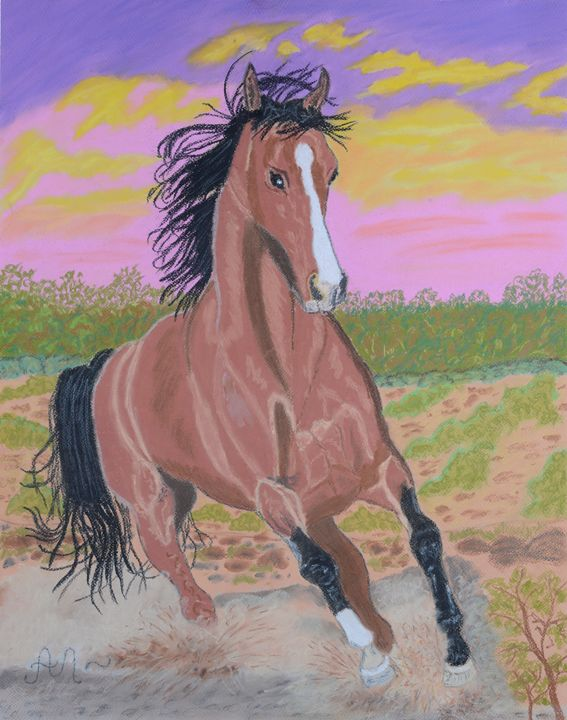 A brown horse at sunset - Anton's art from the heart