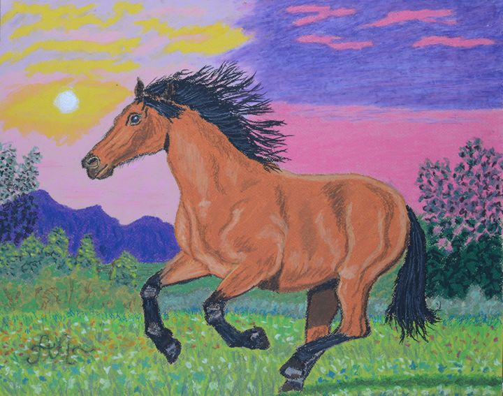 A running brown horse at sunset - Anton's art from the heart
