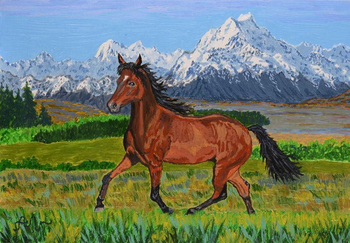 A brown horse and Mt. Cook, NZ - Anton's art from the heart