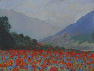Red poppies in the Swiss Alps - Anton's art from the heart
