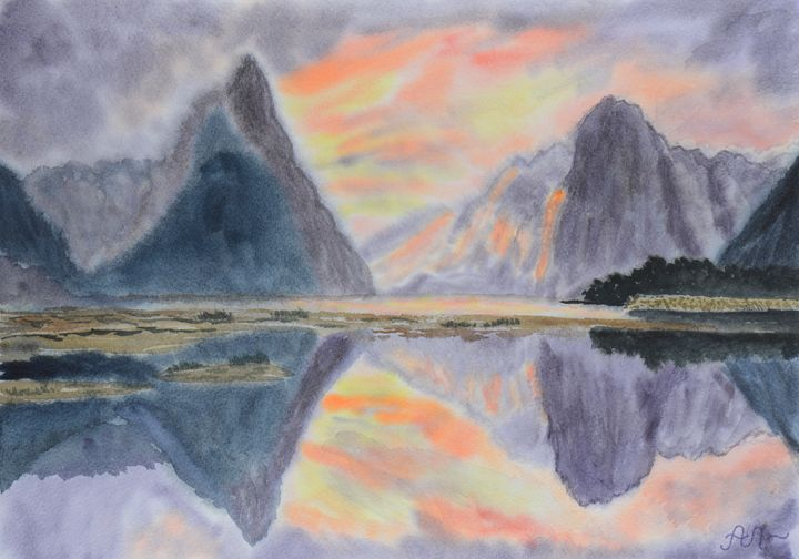 Sunset in Milford Sound, NZ - Anton's art from the heart