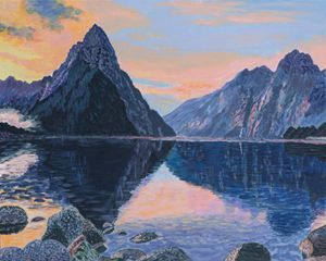 Milford Sound, NZ, at sunset