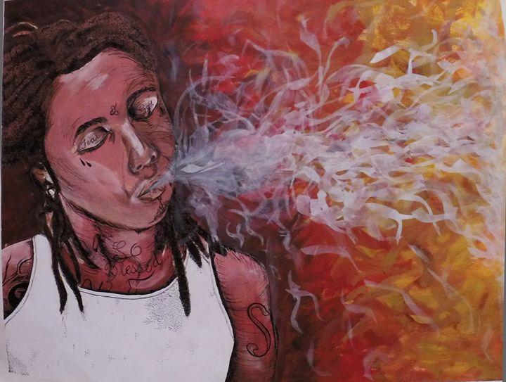 Lil Wayne, Mixed Media Acrylic and P - KnottsArt