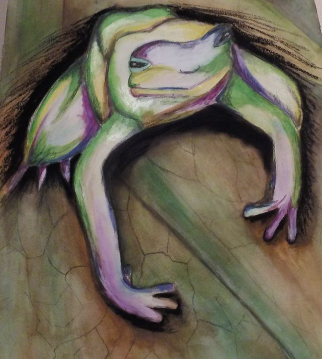 Tree Frog Watercolor & Charcoal Mixe - KnottsArt