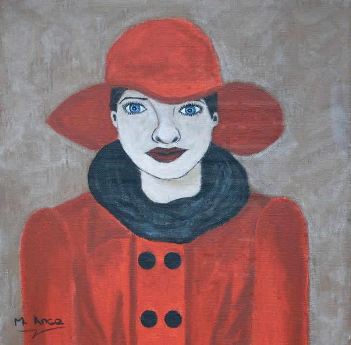 Young lady with red hat - M. Anca