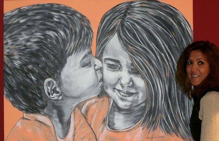 Innocent kiss - Doreen Karales Zonts Art at Home Studio