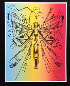 Dragonfly with Hopi designs - Lthkreationz