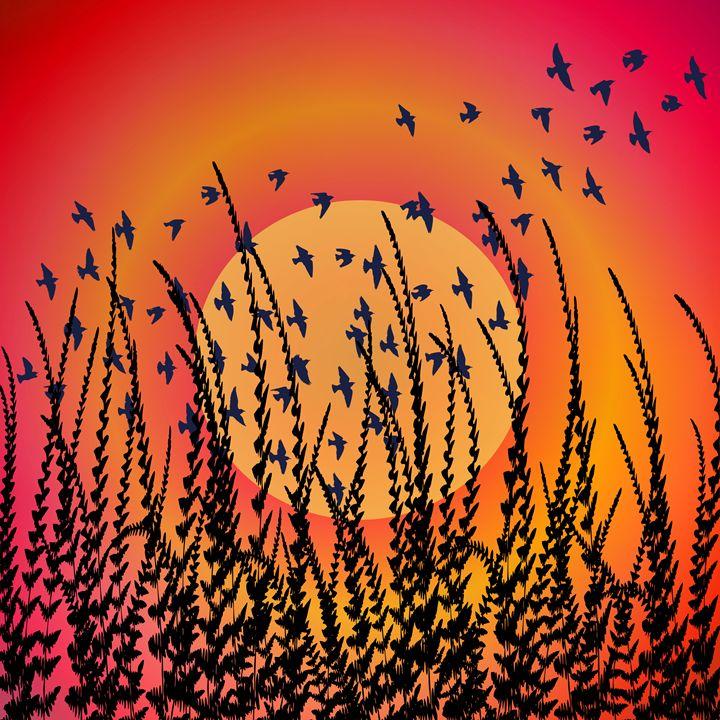 Sky, Sun & Birds (orange) - NCL