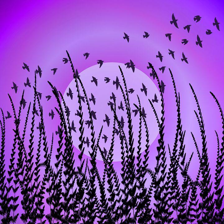 Sky, Sun, Birds (violet) - NCL