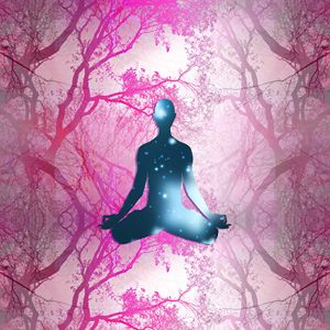 Floating Yogi in the Trees (magenta)