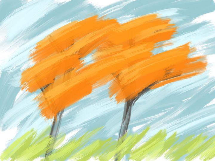 Digital Fall Trees Oil Painting - HBKiitsu Arts