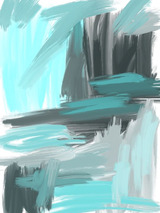 Blue and Gray Abstract - HBKiitsu Arts