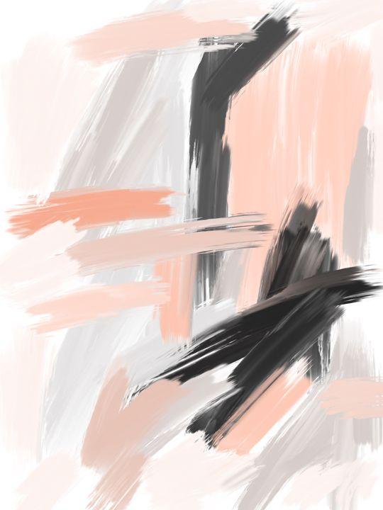 Coral and Gray Abstract - HBKiitsu Arts