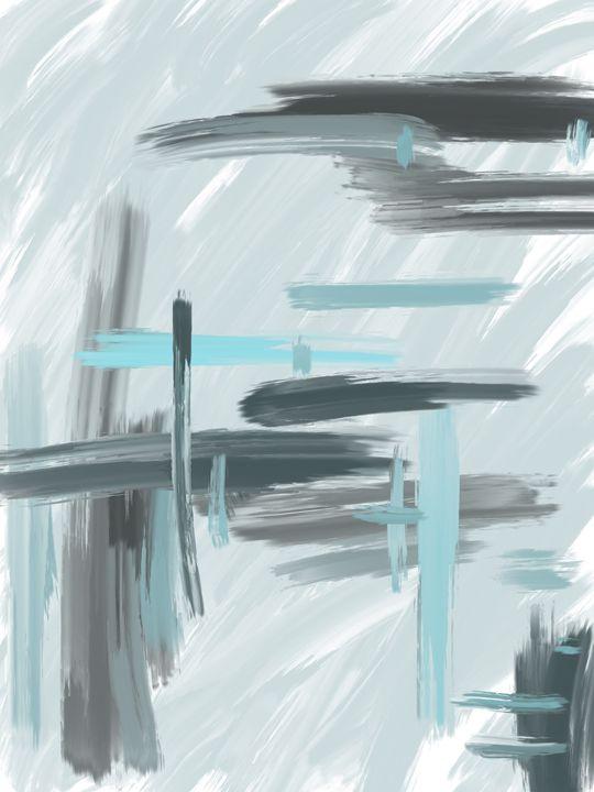 Gray and Blue Abstract - HBKiitsu Arts