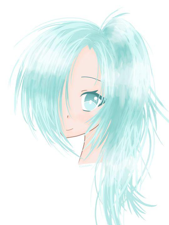 Blue-Haired Anime Girl - HBKiitsu Arts
