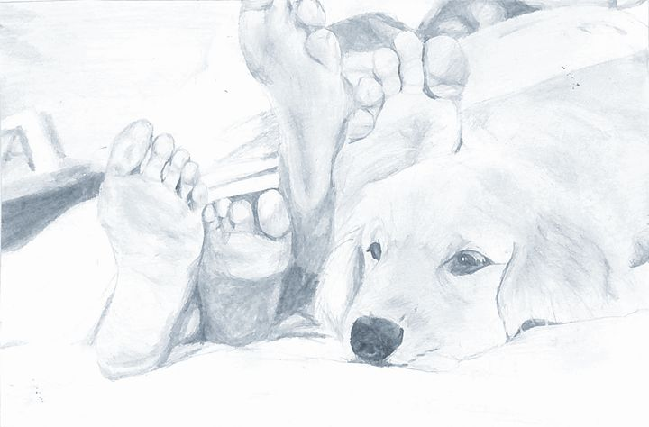Puppy in bed - Ann's Pencil Creations