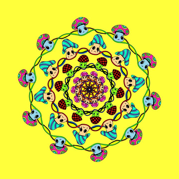 moody little mushrooms mandala - miss multifairy
