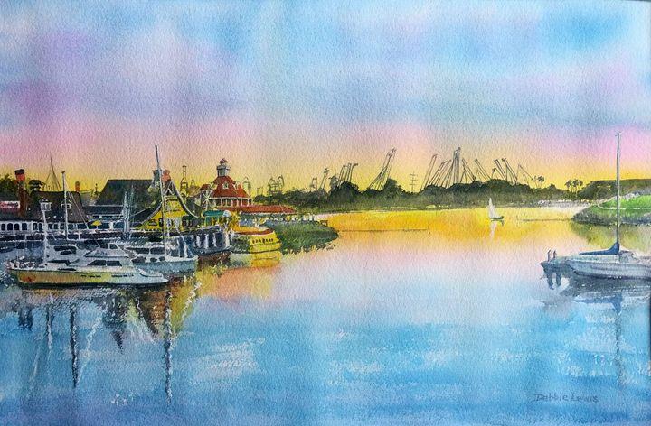 Sunset at Shoreline Village - Debbie Lewis Watercolors