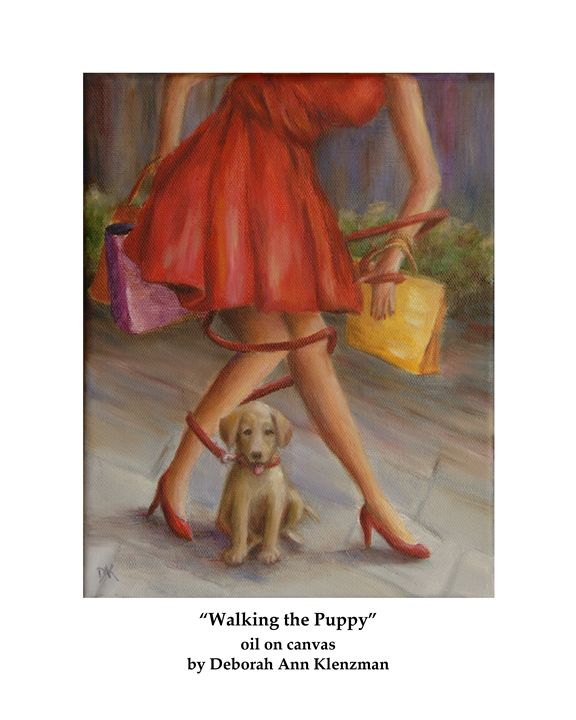 """Walking the Puppy"" art print - Progressive Portraits by Deborah Ann Klenzman"