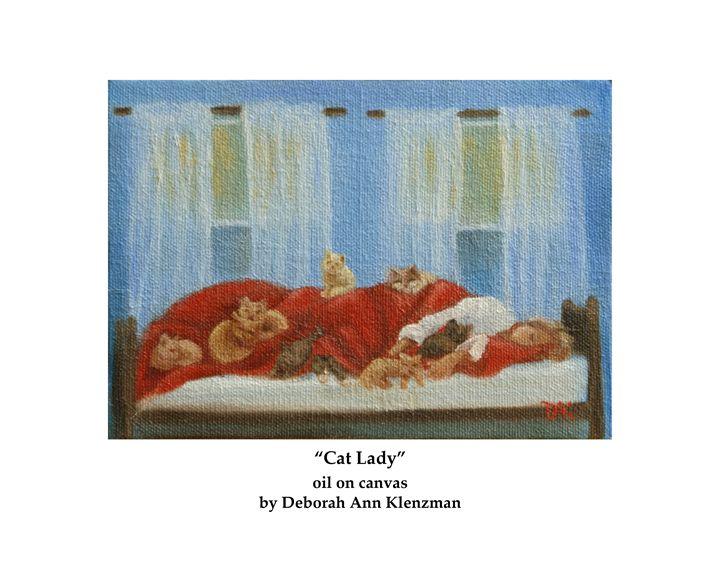 """Cat Lady"" art print - Progressive Portraits by Deborah Ann Klenzman"
