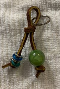 Green beaded keychain